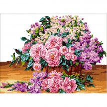 Kit point de croix - Luc Créations - Bouquet de pivoines