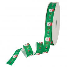 Ruban au mètre - LMC - Ruban vert avec Père Noël - 25 mm - Vendu au mètre