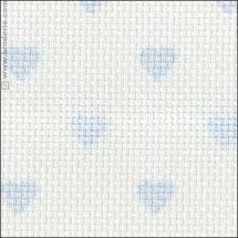 Toile à broder - LMC - Toile Aïda à coeurs bleus 5.5 en coupon ou au mètre
