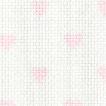 Toile à broder - LMC - Toile Aïda à coeurs rose 5.5 en coupon ou au mètre