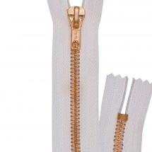 Fermeture non séparable - Prym - Fermeture Eclair ® Blanc/Laiton - Métallique - 6mm