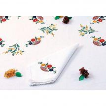 Serviette de table à broder - Luc Créations - Les fleurs et les mimosas