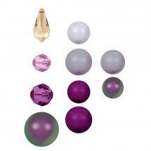 Perles et sequins - Rowan - Paquet de 17 perles Swarovski - Amethyst Selection