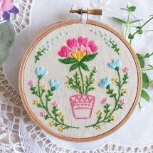 Kit de broderie sur tambour - Tamar Nahir Yanai - Pot de fleurs