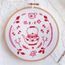 Kit de broderie sur tambour - Tamar Nahir Yanai - Bouilloire rouge