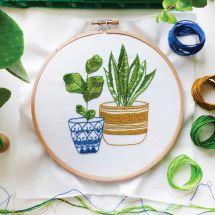 Kit de broderie sur tambour - Tamar Nahir Yanai - Plantes d'intérieur bleues et vertes