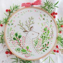Kit de broderie sur tambour - Tamar Nahir Yanai - Cerf de Noël
