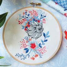 Kit de broderie sur tambour - Tamar Nahir Yanai - Femme à la couronne de fleurs
