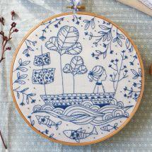 Kit de broderie sur tambour - Tamar Nahir Yanai - Bleu océan