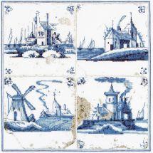 Kit point de croix - Théa Gouverneur - Villages en peinture delft