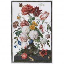 Kit point de croix - Théa Gouverneur - Fleurs dans un vase - Jan Davidsz