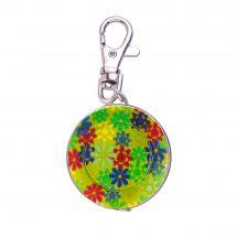 Mètre enrouleur - Bohin - Centimètre couture porte clés - fleurs/vert