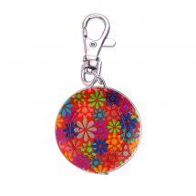 Mètre enrouleur - Bohin - Centimètre couture porte clés - fleurs/rouge