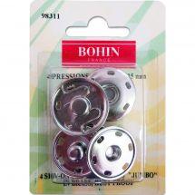 Boutons pression - Bohin - 4 boutons pression à coudre coloris argent - 25 mm