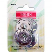 Boutons pression - Bohin - 2 boutons pression à coudre coloris argent - 30 mm