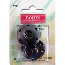 Boutons pression - Bohin - 2 boutons pression à coudre coloris noir - 30 mm