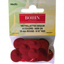 Perles et sequins - Bohin - Paillettes sequin 15 mm - Rouge