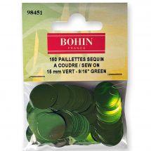 Perles et sequins - Bohin - Paillettes sequin 15 mm - Vert