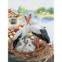 Kit point de croix - Riolis - Famille de cigognes