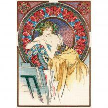 Kit point de croix - Riolis - Femme au chevalet d'après Mucha