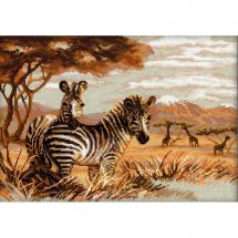 Kit point de croix - Riolis - Les zèbres dans la savane