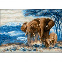 Kit point de croix - Riolis - Les éléphants dans la savane