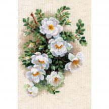 Kit point de croix - Riolis - Fleurs blanches