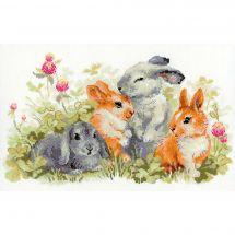 Kit point de croix - Riolis - Famille lapins