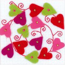 Kit de carte à broder  - Riolis - Coeurs en escargot