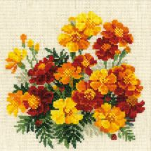 Kit point de croix - Riolis - Fleurs orangées