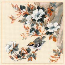 Kit point de croix - Riolis - Fleurs et oiseau