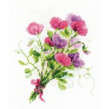 Kit point de croix - Riolis - Bouquet de pois de senteur
