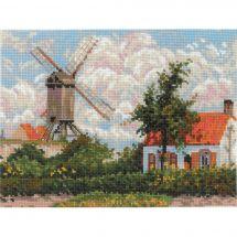 Kit point de croix - Riolis - Moulin de Knokke d'après Pissarro