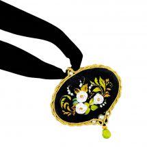 Kit de bijoux à broder - Riolis - Pendentif fleurs