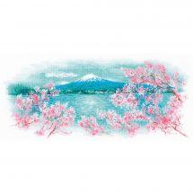 Kit point de croix avec perles - Riolis - Fuji et cerisier