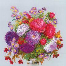Kit point de croix - Riolis - Bouquet d asters