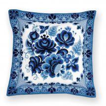 Kit de coussin à broder - Riolis - Coussin fleurs bleues