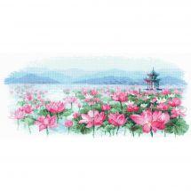 Kit point de croix - Riolis - Pagode parmi les lotus