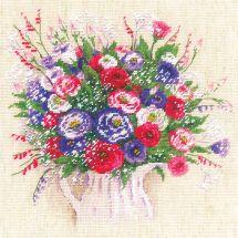 Kit point de croix - Riolis - Bouquet d'Eustomas et de Gypsohiles