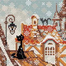 Kit de broderie Diamant - Riolis - Chats sur la ville en hiver