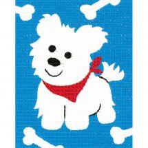 Kit de canevas pour enfant - Vervaco - Petit chien blanc
