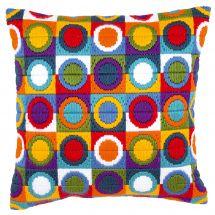 Kit de coussin point lancé - Vervaco - Cercles multicolores