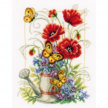 Kit point de croix - Vervaco - Arrosoir avec fleurs