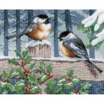 Kit point de croix - Vervaco - Les oiseaux en hiver
