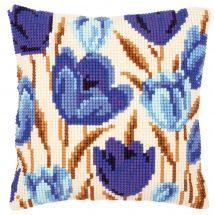 Kit de coussin gros trous - Vervaco - Tulipes bleues