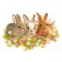 Kit point de croix - Vervaco - Lapins dans un champs de fleurs