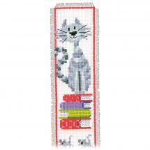 Kit de marque-pages à broder - Vervaco - Chat sur livres