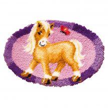 Kit de tapis point noué - Vervaco - Poney avec papillon