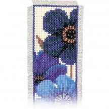 Kit de marque-pages à broder - Vervaco - Anémones bleues