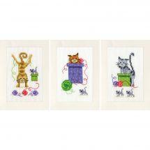 Kit de carte à broder  - Vervaco - 3 cartes chats ludiques